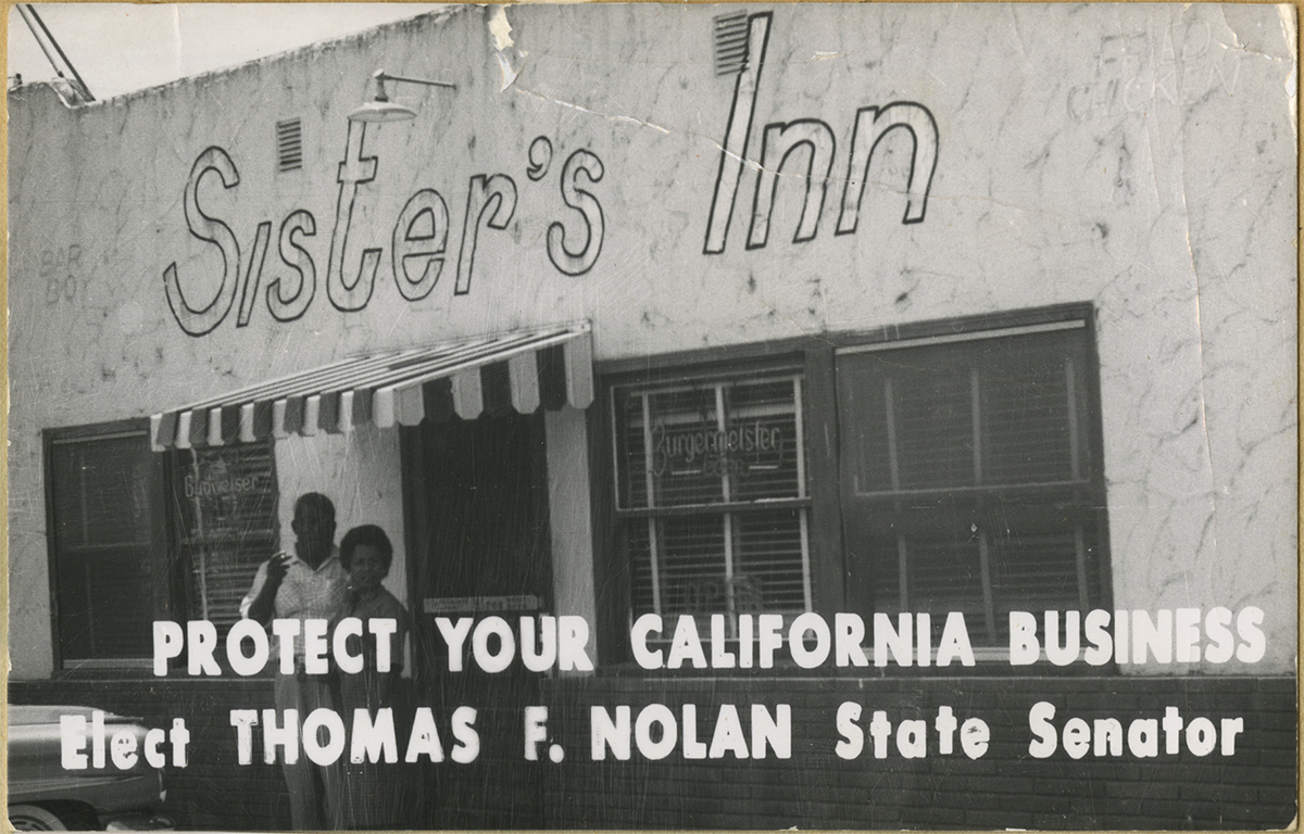 Featured on a postcard for senator elections, the rebuilt Sister's Inn stood near the corner of Higuera St and South St circa 1954-1965 and served as the first African American owned restaurant in SLO. (Sister's Inn Collection, Special Collections and Archives, California Polytechnic State University, 189_spc_000011-02)