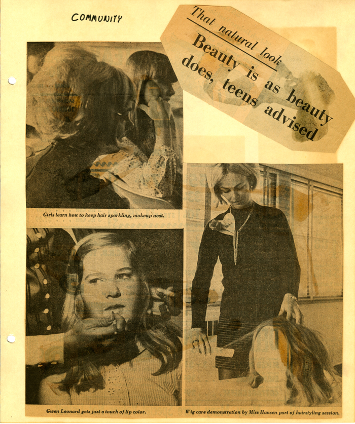 Cal Poly Home Economics Department teaches high school students about beauty and hygiene, 1969, Home Economics Scrapbook 1968-1973, University Archives, California Polytechnic State University, ua-sel_00000247