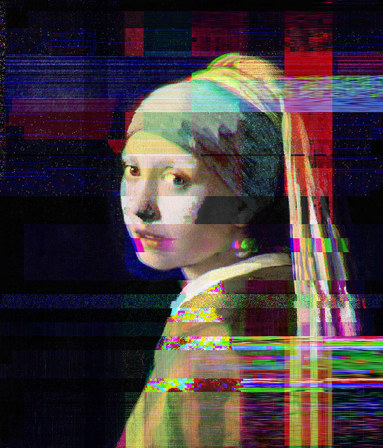"""""""Glitched Girl with Pearl Earring"""" from the exhibit """"Tim Jenison Close-up"""" Courtesy Kennedy Library, design by Chris Taylor"""