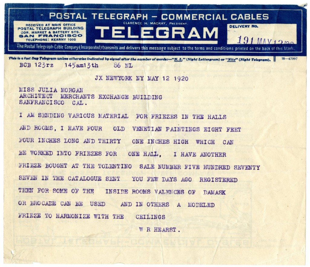 Telegram from William Randolph Hearst to Julia Morgan, May 12, 1920. Julia Morgan Papers, Special Collections and Archives, California Polytechnic State University, 010-5-e-47-10-09)