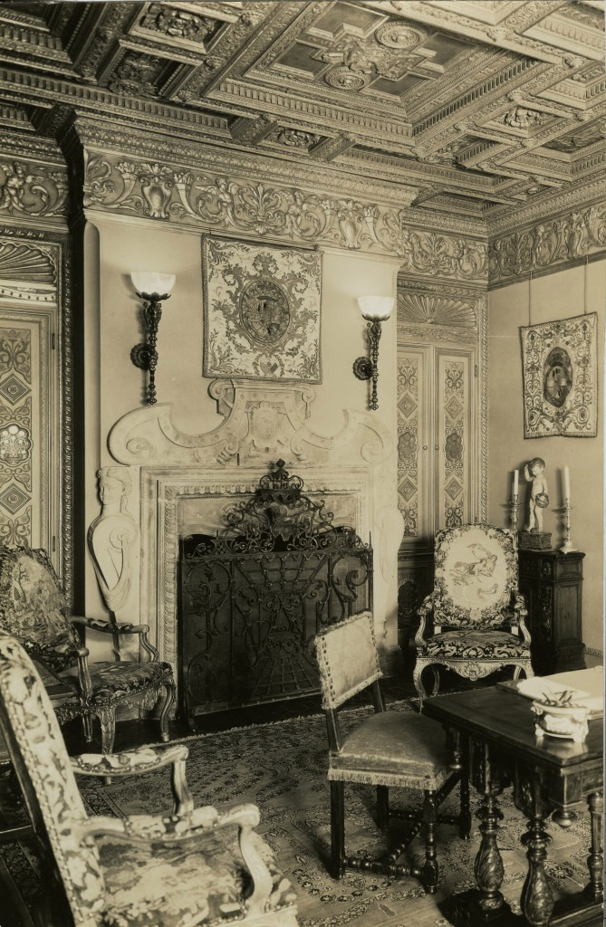 Interior photograph of  'A' House at Hearst Castle (Julia Morgan Papers, Special Collections and Archives, California Polytechnic State University, 010-5-h-63-03-01)