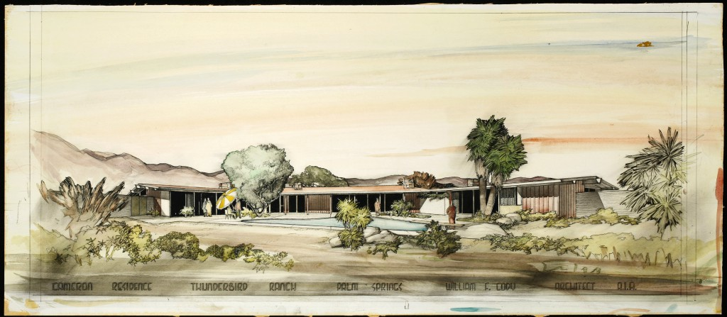 Presentation drawing of the Mr. and Mrs. George E. Cameron residence, Thunderbird Country Club, 1951. William F. Cody Papers 2, Special Collections and Archives, California Polytechnic State University