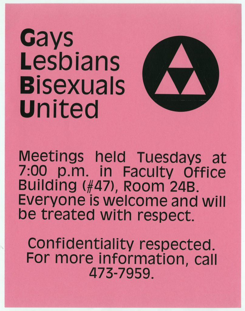 Pink flyer for the Gays Lesbians and Bisexuals United club at Cal Poly. In the upper righthand corner there is the logo of the GLBU.