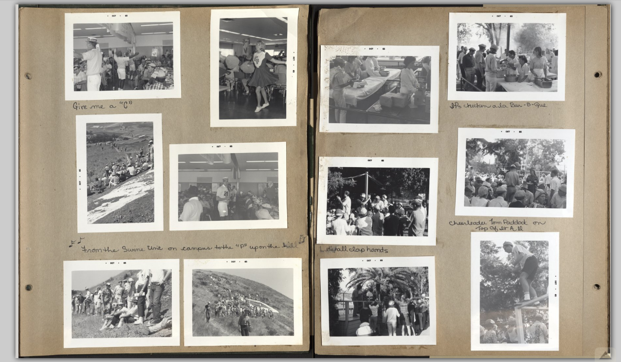 Two pages from a scrapbook. There are several photos on the pages that show students in different activities such as going up to the Cal Poly P. The photos are dated 1965.