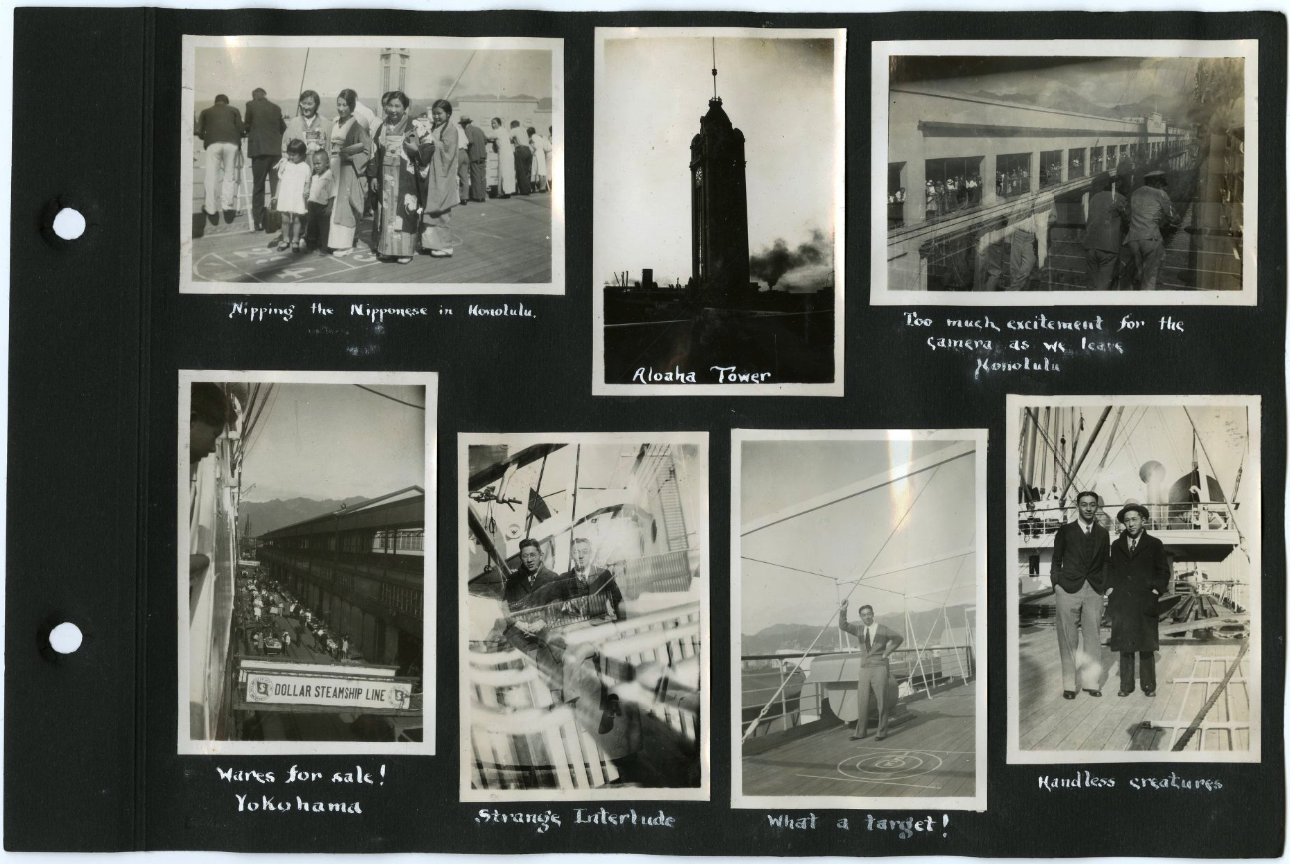 Page from Fred's scrapbook showing photos of views on the boat that took them to China.