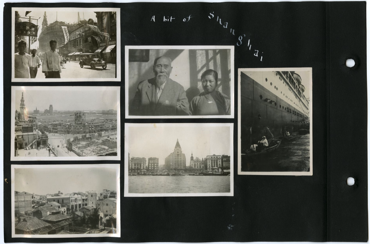 Page from Howard Louis's Scrabpook with four photos of views of Shanghai, including a photo of Ah Louis with a woman