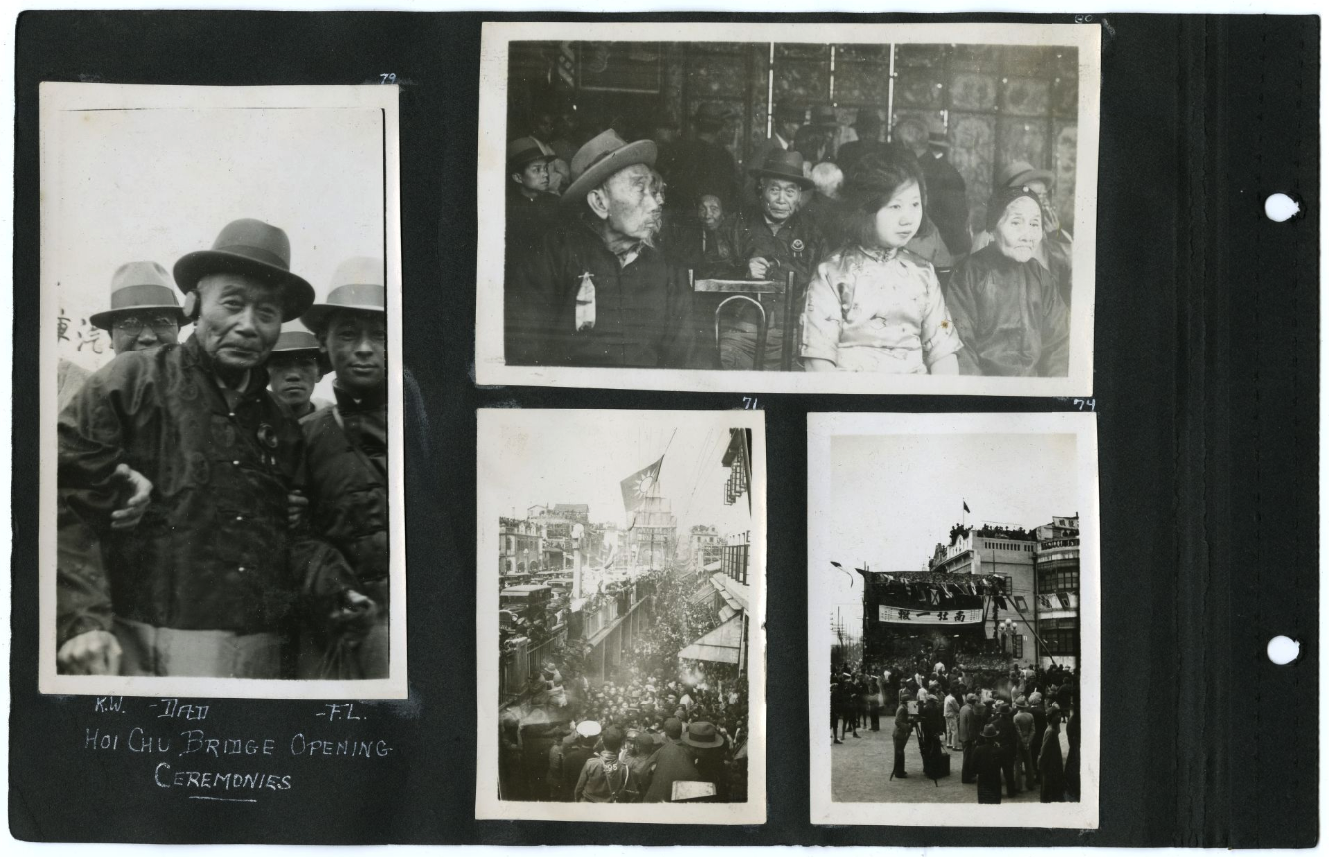 Scrapbook page featuring four black and white photographs, including a photo of Ah Louis in hat, people seated at the ceremony, and street views.