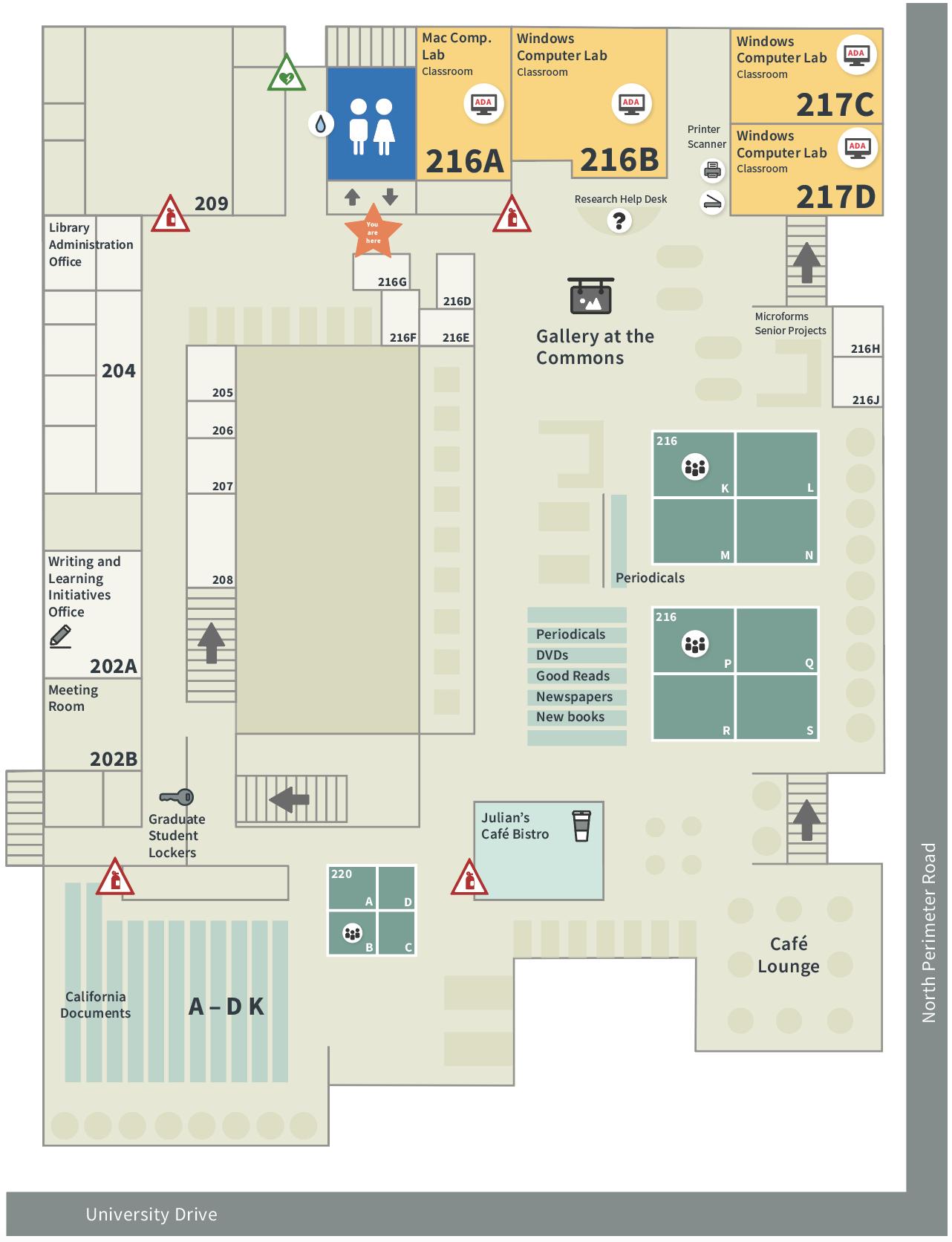 Robert E. Kennedy Library Second Floor Map